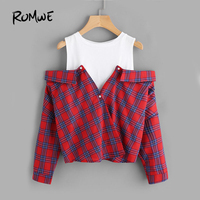 ROMWE Open Shoulder Check 2 In 1 Shirt Tunic Vogue Blouse Women Red Button Plaid Top
