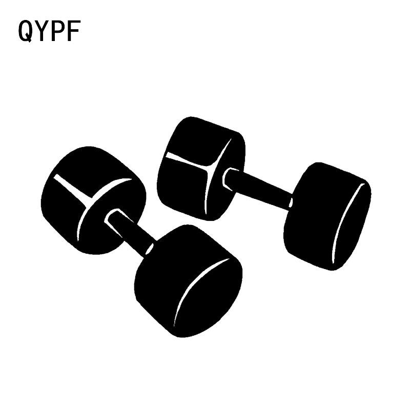 QYPF 15.6*10.5CM Interesting Dumbbells Fitness Training Decor Vinyl Car Sticker High Quality C16-0349