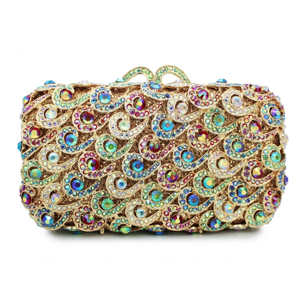 Latest Design Ladies Purse Hard Box Coloful Indian Bridal Clutch
