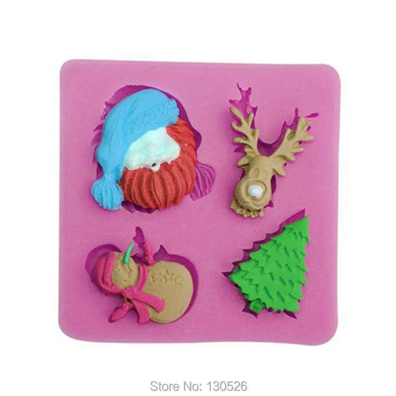 1Pcs Cake Silicone Mold Chrismas fondant cake mold Xmas Party Cake Decorating Tools santa Claus Tree shape Bakeware Supplies