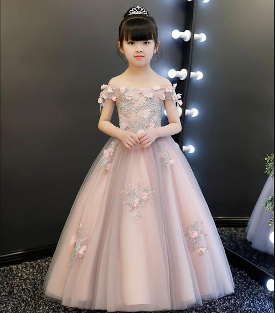 f942bb10a6576 Elegant Pink Appliques Lace First Communion Dress Long Dress Girls Party  Ball Gown Flower Girl Dress For Weddings Pageant Gown