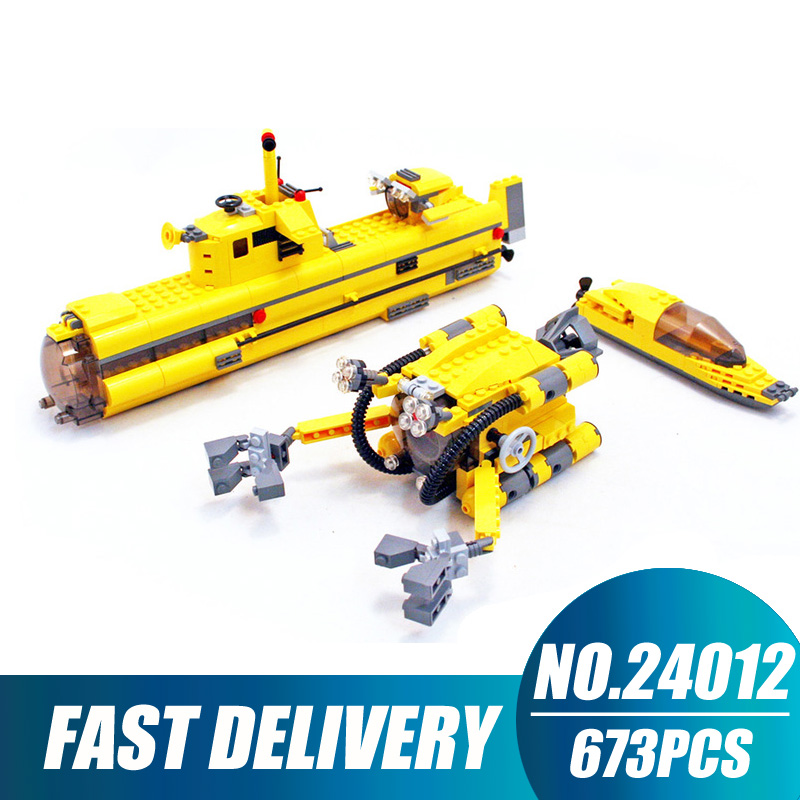 Compatible Legoe Technic Creative Lepin 24012 673pcs Underwater Explora Ship building blocks 4888 Bricks toys for children 8 in 1 military ship building blocks toys for boys