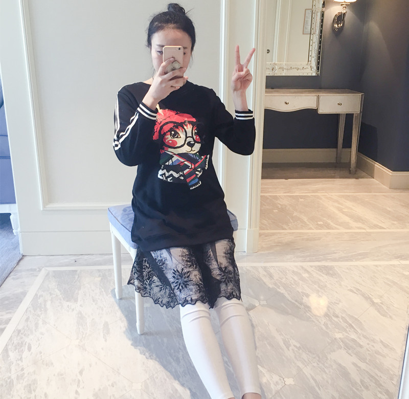 2016 Cotton New Limited Big Yards South Cartoon Splicing Two-piece Maternity School Wind Pregnant Women Long Sleeve Dress A