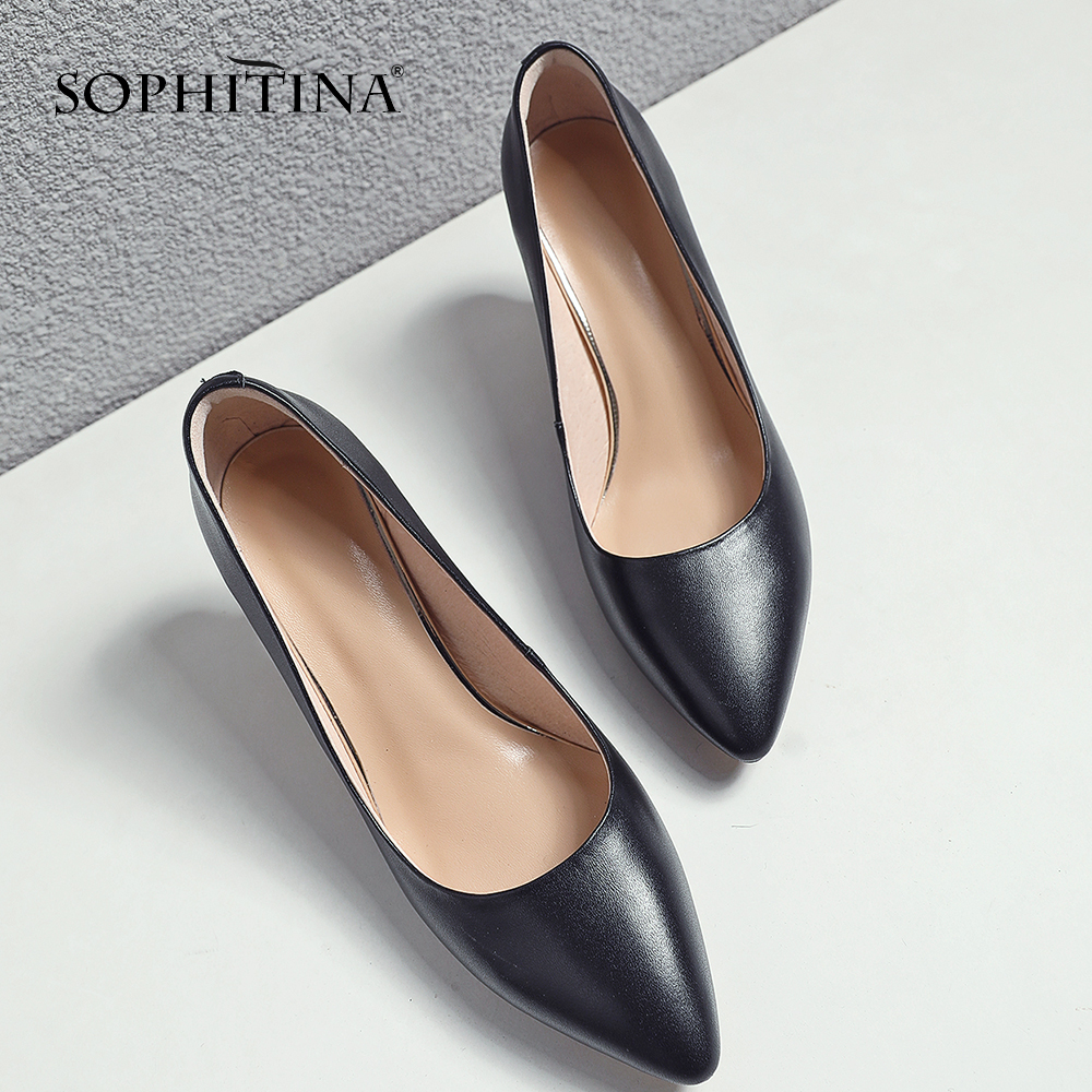 SOPHITINA Stylish Genuine Leather High Heel Ladies Pumps Sexy Pointed Toe Shallow Shoes Casual Basic Thin Heel Women Pumps SO219