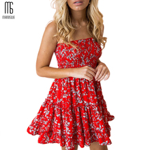 Manoswe Strapless Print Floral Beach Dress tunic Boho Vestido Summer Yellow Sundresses Sleeveless Backless Mini Ruffle Dresses