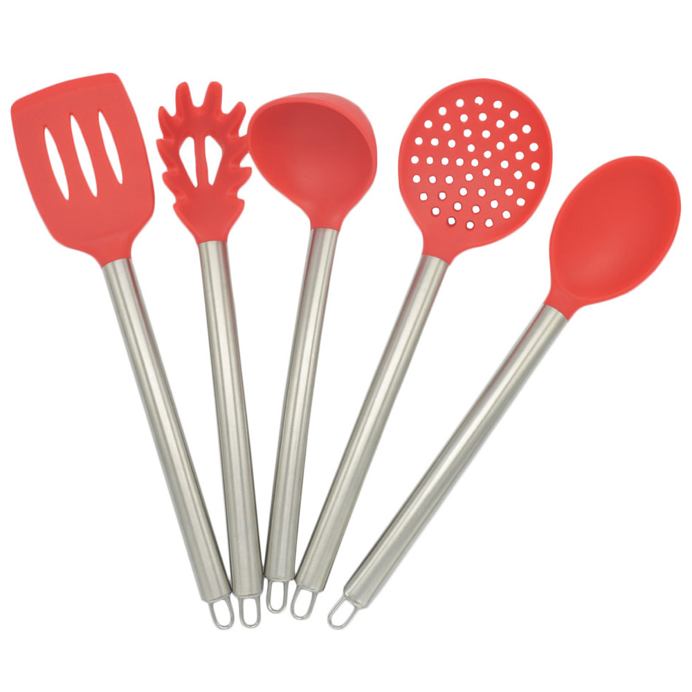 5 pièces/ensemble en acier inoxydable poignée Silicone outils de cuisson ustensiles de cuisine set antiadhésif silicone outils de cuisson