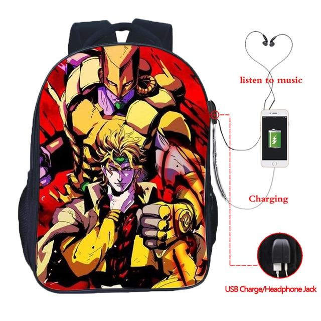 JoJo's Bizarre Adventure Backpack JoJo No Kimyou Na Bouken Jotaro Men Women Boys Girls USB Charging Backpacks School Bags 2