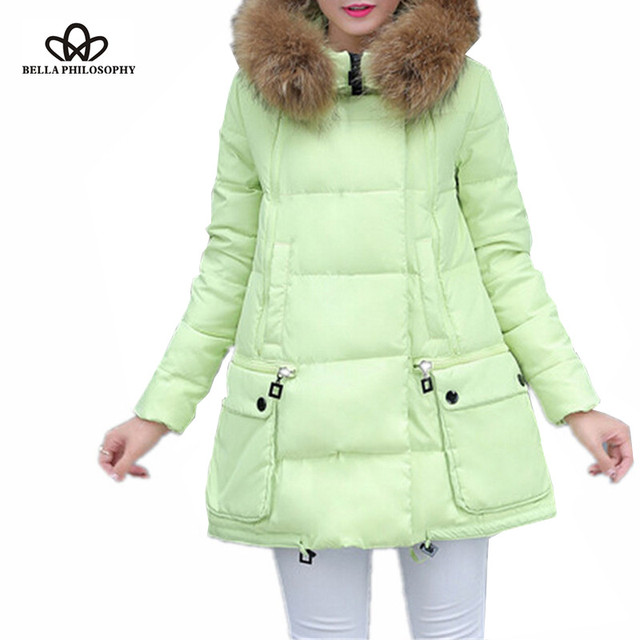 2016 winter women jacket long down large collar parka coat cloak A line plus size thick faux fur collar padded coat real photo