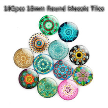 100pcs 18mm Round Mosaic Tiles DIY Crystal Glass Mosaic Stones for Kids/Children Random Pattern/Color Crafts/Ring Materials