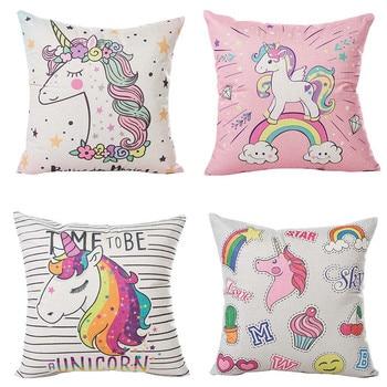 Hot New 45x45cm Unicorn Pillow Case DIY Unicorn Party Decoration Cotton Linen Cushion Cover Unicorn Birthday Party Supplies