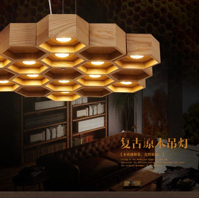 handmade wooden home decor wooden honeycomb modern creative handmade wood led hanging pendant Product Descrip