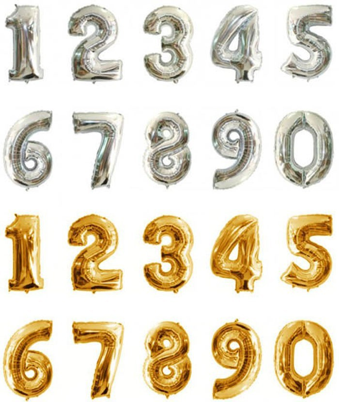Alphabet Foil Silvers: 1pc 16 Inch 0 9 Number Gold Silver Foil Balloons Digit