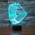 Luvas De Beisebol NOVA Mudança de 7 Cores 3D Acrílico Lâmpada LED Quarto Iluminação Atmosfera Noturna MLB Fãs Do Presente Do Feriado do Navio Da Gota