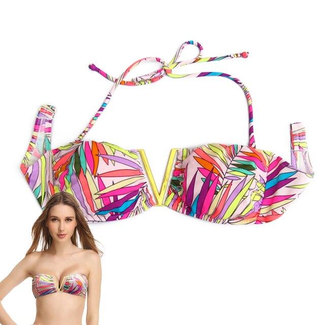 ebb4af16d3 MIxer Bikini TOPS for Women Swimwear Beachwear Tassel Pink Print Bathing  suits Designer Secret swimming biquini UP