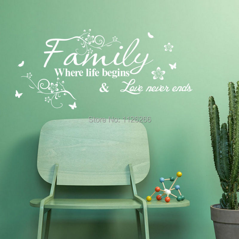 Us 4 39 12 Di Sconto Wall Sticker Citazioni Famiglia Dove La Vita Inizia E L Amore Non Finisce Mai Di Arte Del Vinile Vite Fiore Decorativo