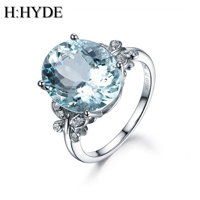 H:HYDE 2018 Fashion Women Silver Plated Classic Round Butterfly Big CZ Crystal Ring Size 6-10 Wedding Party Gifts Jewelry Rings