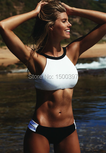 2017 Women White/Black Patchwork Color Sport Bikini,High Neck Tank Swimwear Top Cut Out Bottom Sexy Swimsuits Size S-XL inc new white gold sequined stars women s size xl scoop neck tank top $59