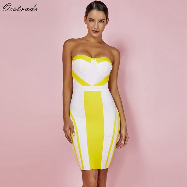 48cd9a6e29957 US $29.84 27% OFF|Ocstrade Summer Bandage Dresses Party 2019 New Strapless  Sexy Bandage Dress Yellow Bodycon Womens Mini Bandage Dress Rayon XL-in ...