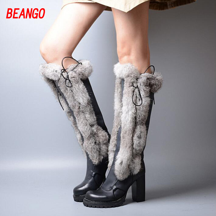 BEANGO Winter Warm Real Fur Leather Women Knee High Boots Gladiator Lace Up Thick High Heels Shoes Woman Thin Leg Platform Shoes high quality lace up nubuck short boots women thick high heels platform shoes woman with fur skid proof fall winter suede boots