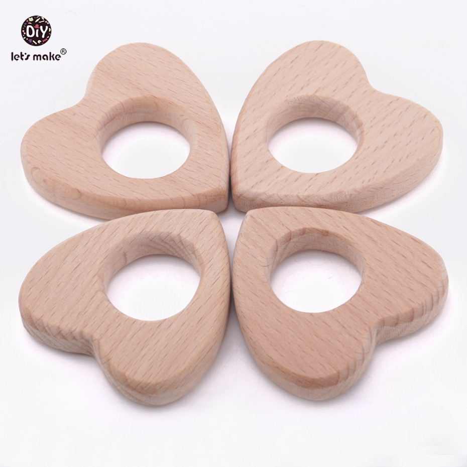Lets Make 6pc/lot Wooden Teether Heart - Teething Toy - Organic Baby Toy - Baby Teether - Newborn Gift Baby Wood Teether