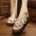 Zapatillas de cuña Sandalias de Las Mujeres Zapatos de Las Señoras Flor Plaform Sandalias Al Aire Libre de Interior Zapatillas Sandalias Mujer Marrón