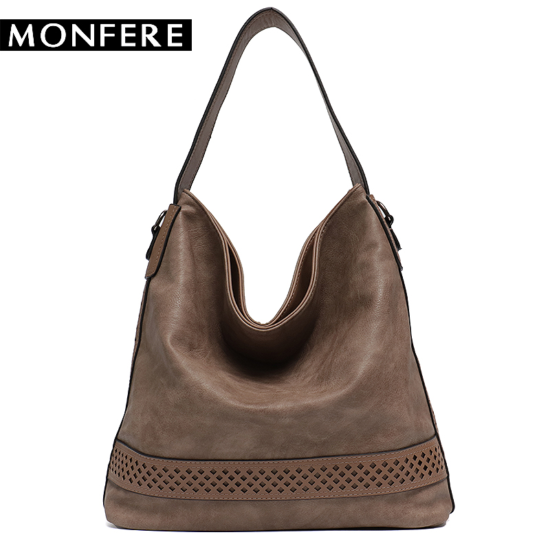 Monfere Brand Women S Faux Leather Handbags High Quality Female Hobos Single Shoulder Bags Solid Cut Pattern Soft Las Totes