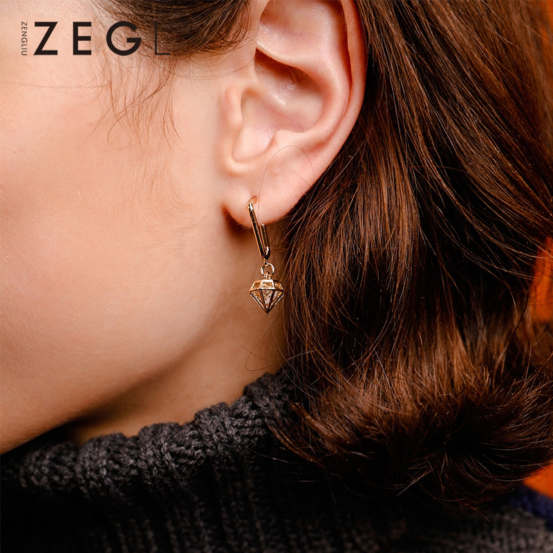 ZEGL Asymmetric Earrings Key funny earrings drop Womens