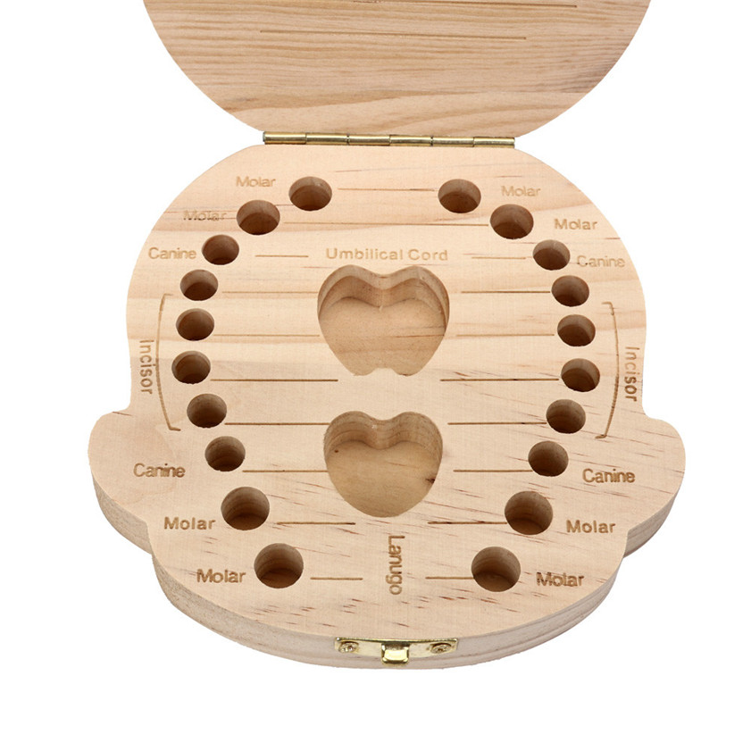 caja para dientes de leche kids toolTooth Box organizer for baby Milk teeth Save Wood