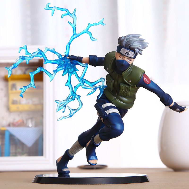 22cm Cool Naruto Kakashi Sasuke Action Figure Anime puppets Figure PVC Toys Figure Model Table Desk Decoration Accessories original box anime naruto action figures lightning blade hatake kakashi figure pvc model 12cm collection children baby kids toys