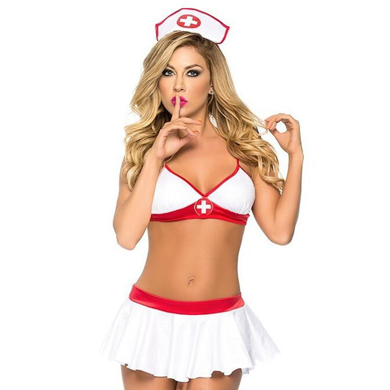 Buy Porn Sex Nurse Uniform Women Sexy Lingerie Hot Erotic Nurse Doctor Role Play Costumes Sexy Cosplay Babydoll Bra + Skirt + Hat