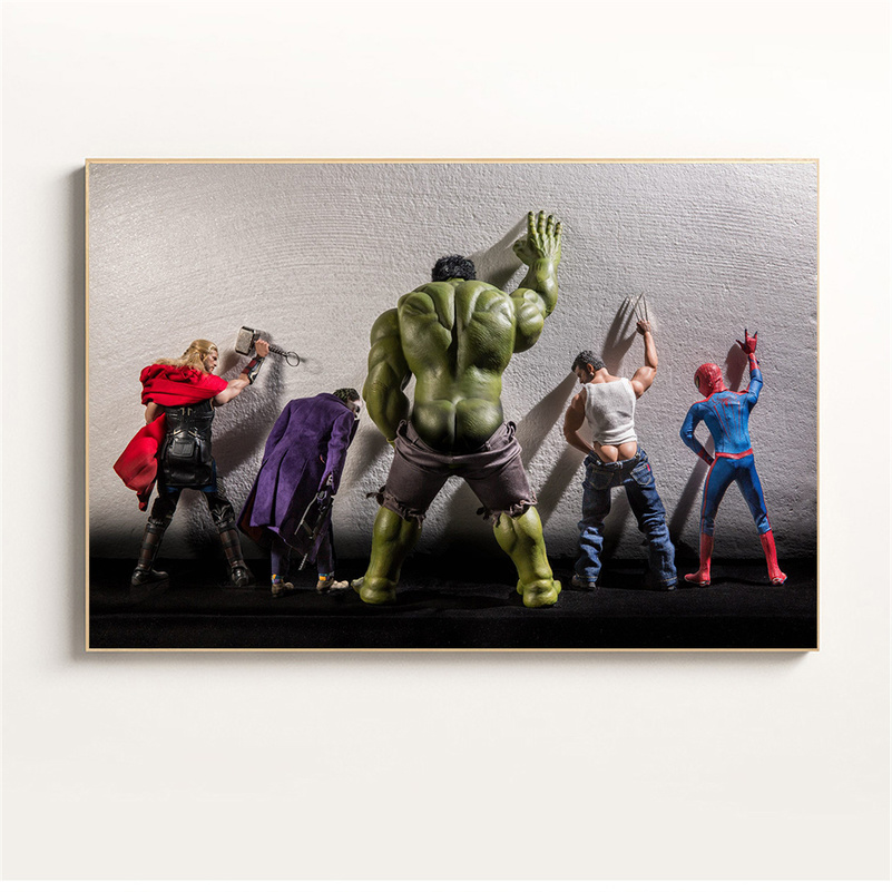 Funny Wall Art Marvel Poster Nordic Superhero Daily Life Hulk In Toilet Spider Man Canvas Painting Home Decoration Maison