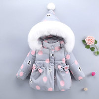 Newborns Baby Girl Hooded Jackets Winter Warm Cotton Coats for Children's Girls Clothing Infant Clothes Fashion Outerwear Cloth