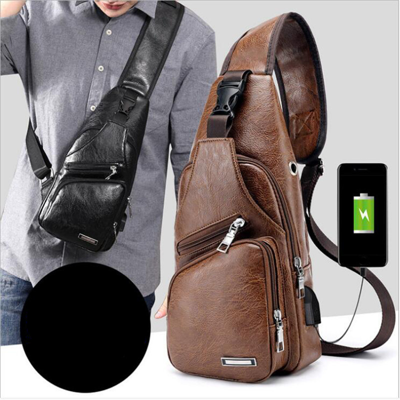 Fashion Men's Chest Bag Travel Back Pack Men Crossbody Bags Messenger Bag PU Shoulder Bags Diagonal USB Package