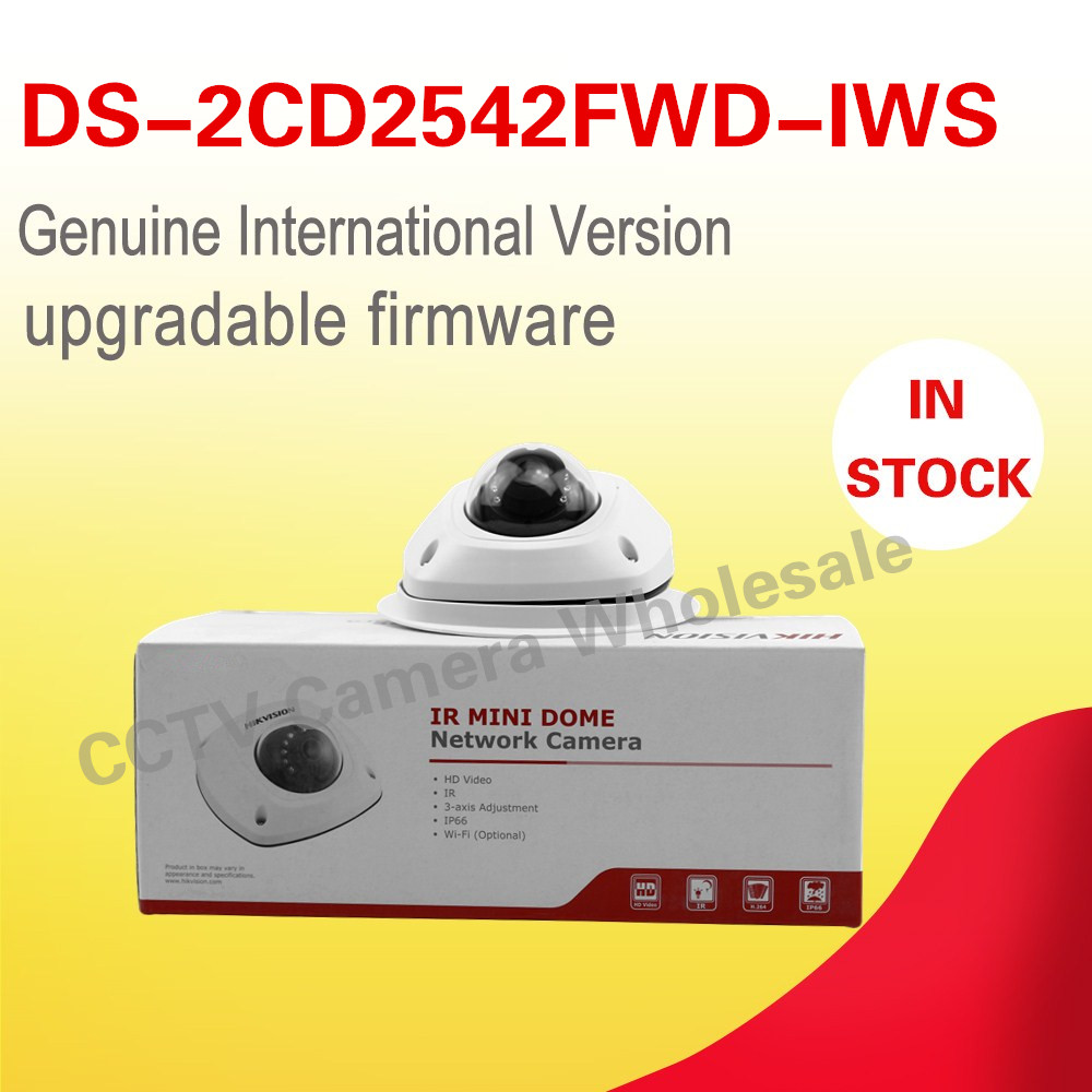 In stock Free shipping English version DS-2CD2542FWD-IWS two-way audio 4MP WDR mini WIFI dome network camera wireless with mic wireless ip camera hikvision ds 2cd2142fwd iws 4mm 4mp wdr poe dome cam security camera wifi monitor english version upgradable