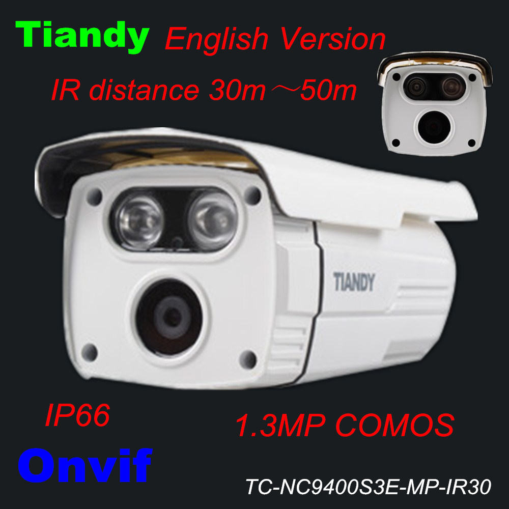 Original Tiandy IP Camera TC-NC9400S3E-MP-IR30 English Version 960P 1.3MP Waterproof IP66 Outdoor CCTV Camera Support Onvif