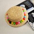 Mujeres Sombrero para el Sol Sombrero de Paja de Color Caramelo Nueva Llegada de La Manera Amplia bolas de lana de ala grande casquillo de la playa del verano snapback caps gorras hueso