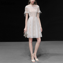 Seifrmann New 2019 Women Spring Summer Dress Runway Fashion Designer Hollow Out Mesh Overlay Lace Splice Elegant Slim Dresses