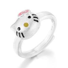Moda dziecięca srebrny kolor śliczny różowy kot otwarty pierścień dla dziecka dzieci dziewczyny kobieta regulowany pierścień prezent urodzinowy Party biżuteria R064 tanie tanio Pierścionki SILVER Metal TRENDY Zwierząt Zespoły weselne Brak sunnyyou