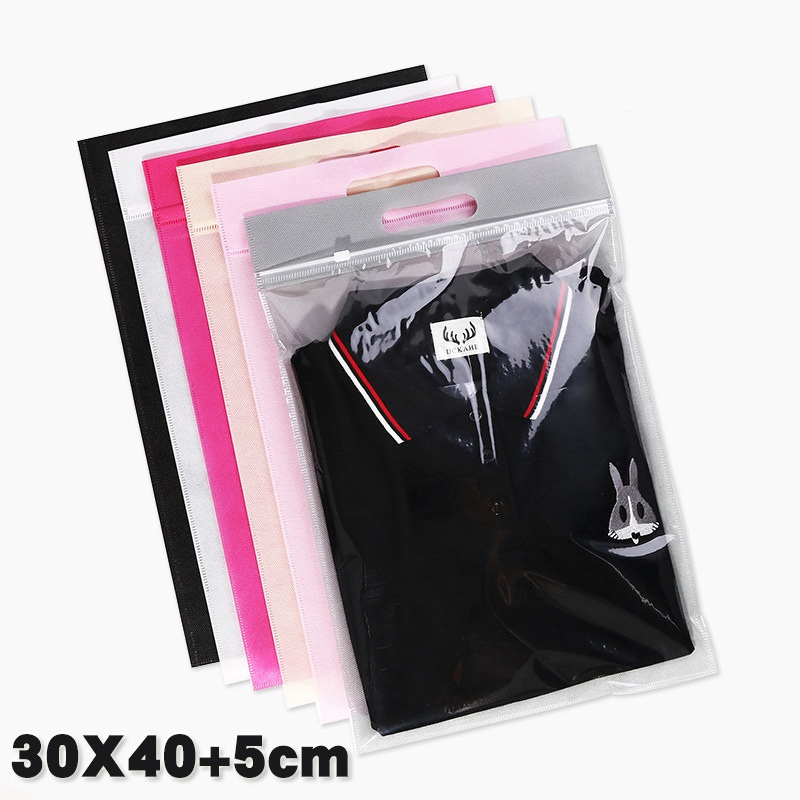 1000pcs/lot Hand Loop-6colors Nonwoven Ziplock Gift Travel Transparent Handbag Clothes Packaging Bags Wedding Favors And Gifts