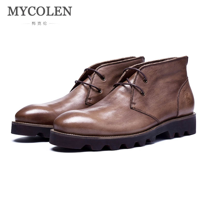 MYCOLEN Genuine Leather Men Ankle Boots Handmade New Fashion Men Leather Boots Round Top Shoes Outdoor Casual Men Winter Boots