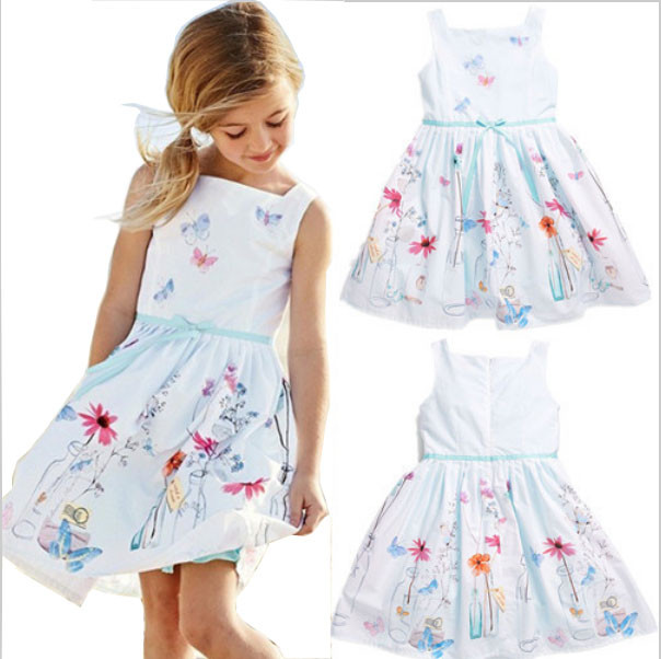 JOYINPARTY hot girls dress children's clothing white strap dress Students wear fashion pleated dress silk Leisure dress