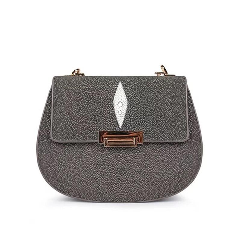 Роскошная дизайнерская натуральная кожа ската Женская Маленькая седельная сумка экзотическая скейт кожа леди слинг сумка женская сумка че