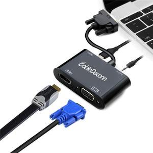 Image 5 - VGA HDMI dağıtıcı 3.5mm ses dönüştürücü desteği çift ekran PC projektör HDTV çok portlu VGA adaptörü