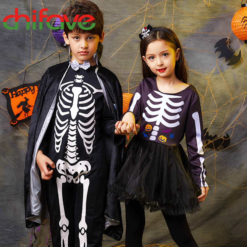 chifave Skeleton Costume Halloween Girls Dress+Headband Boys Cloak Children Halloween Clothes Cosplay Baby Girls Dress Kids Sets halloween skeleton style cosplay costume face mask gloves set black white