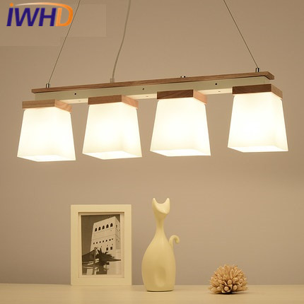 IWHD Nordic Style 4 Heads Modern pendant Lights Glass Hanglamp Bedroom Kitchen Pendant Light Fixtures Wood Lampara Home Lighting