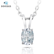 DovEggs  sterling solid 925 silver 5X7mm Slight Blue Moissanite Pendant Necklace for Women Wedding Gift