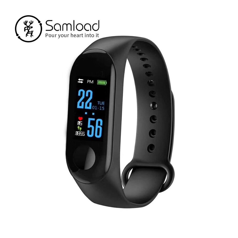 Samload pulsera inteligente pulsera Bluetooth pantalla a Color de Monitor de frecuencia cardíaca Fitness dormir rastreador IP67 para Xiao mi corriendo Banda 3