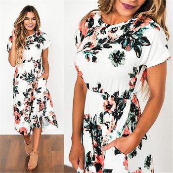 Women Dress 2018 Summer Long Floral Print Boho Dress 2