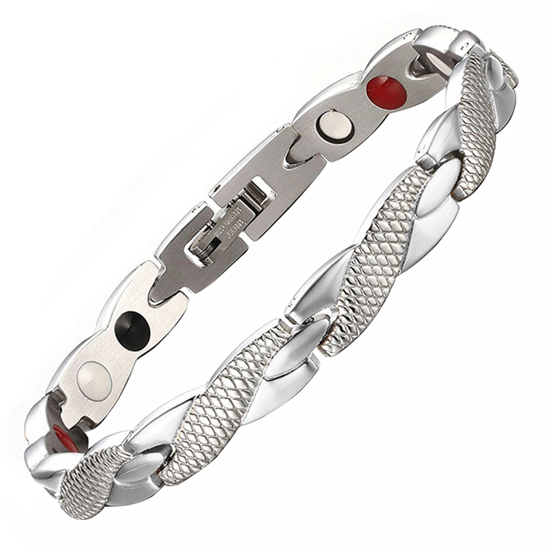 LITTLE FROG Women Jewelry Stainless Steel Healing Magnetic Bio Energy Bracelet Bangle For Women Accessory Silver Bracelets 10253