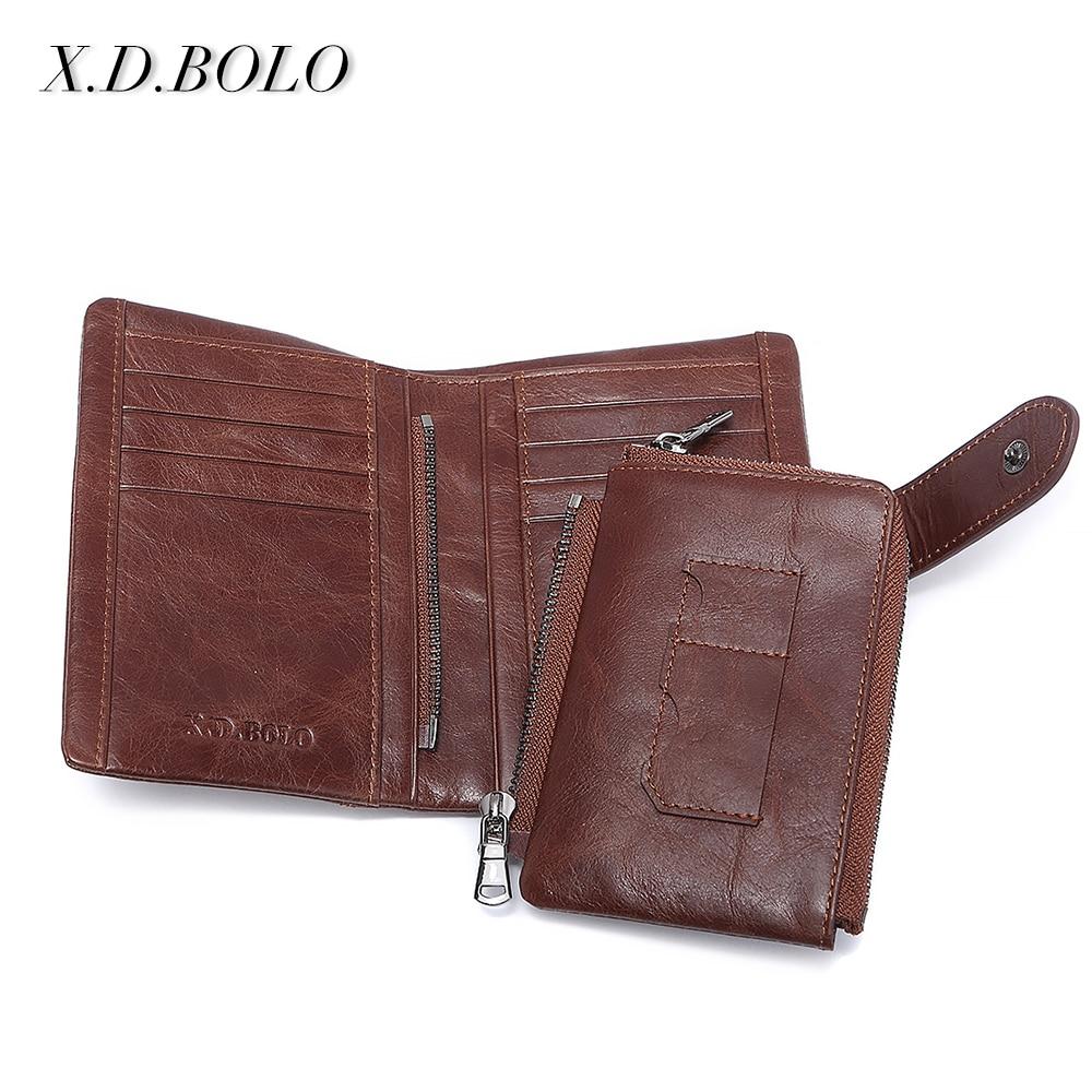 X.D.BOLO Fashion Coin Purse Card Holder Small Wallet Men Male Clutch Bag Genuine Leather Men Wallets Zipper For Money